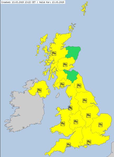Aktualne ostrzeżenia meteorologiczne w Wielkiej Brytanii (za meteoalarm.eu)