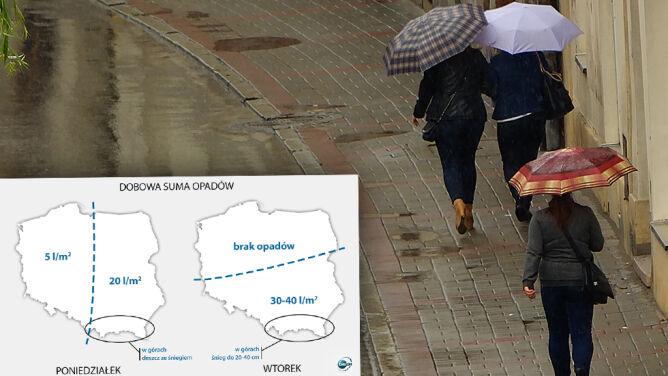 Tydzień pełen deszczu. <br />Ulewy do 40 l/mkw., w górach śnieg