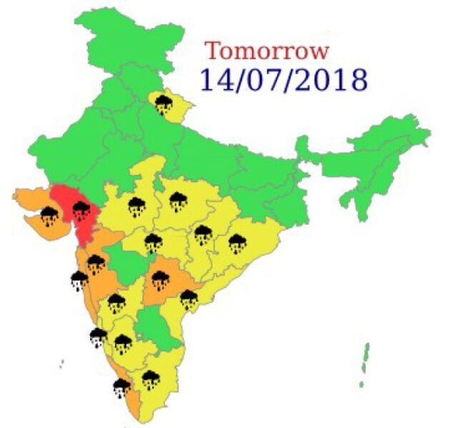 Ostrzeżenia meteorologiczne dla Indii na sobotę (India Meteorogical Department)