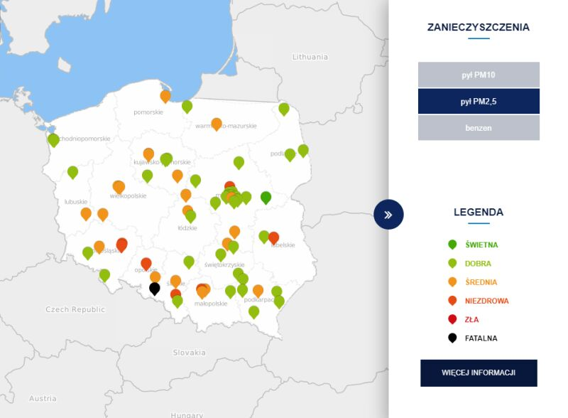Stężenie pyłu PM,25 o godzinie 15 (tvnmeteo.pl za GIOŚ)