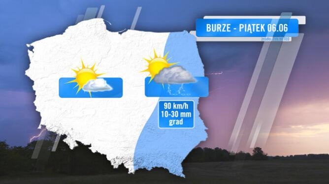 Zasięg burz prognozowany na piątek 6.06