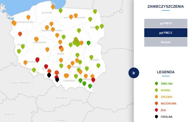 Stężenie pyłu PM2,5 o godzinie 18 (tvnmeteo.pl za GIOŚ)