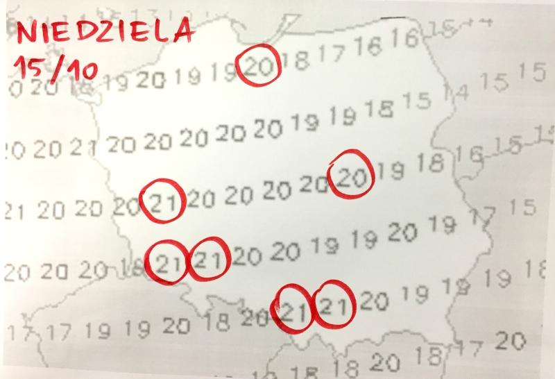 Prognozowane temperatury w niedzielę (weatheronline.pl)